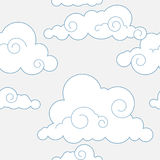 Nahtloses stilisiertes Wolkenmuster Stockbilder