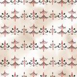 Nahtloses stilvolles Muster mit Schwarzweiss-Aquarelltannenbäumen Stockbilder