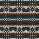 Nahtloses strickendes Muster in der traditionellen nordischen angemessenen Inselart Stockfotos