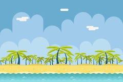 Nahtloses Sunny Beach Ocean Sea Nature-Konzept flach Stockbilder