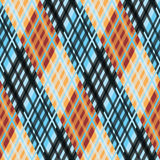 Nahtloses Tartanmuster diagonal orange blaue Palette Stockbild