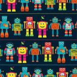 Nahtloses Tileable-Vektor-Hintergrund-Muster mit netten Robotern Stockfotografie