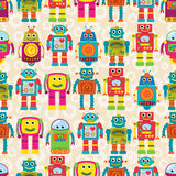 Nahtloses Tileable-Vektor-Hintergrund-Muster mit netten Robotern Lizenzfreie Stockfotografie