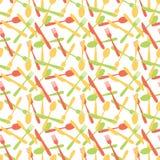 Nahtloses Tischbesteck-Tafelsilber-Muster Stockbild