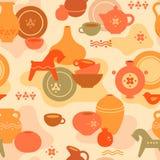 Nahtloses Tonwarenmuster mit Vasen und andere keramisch Lehmpferd, Frauen und andere Teller vektor abbildung