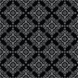 Nahtloses traditionelles indisches Schwarzweiss-Muster Stockbild
