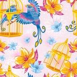 Nahtloses Traummuster mit Vögeln und goldenen Käfigen Stockbilder