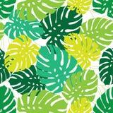 Nahtloses tropisches Überschneidungsblattdesignmuster lizenzfreie abbildung