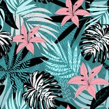 Nahtloses tropisches Muster mit Blättern und Blumen auf einem dunklen Hintergrund ENV 10 Dschungeldruck Gewebe und Drucken floral stock abbildung