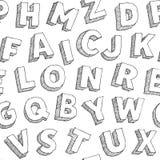 Nahtloses typograhy Muster mit Hand gezeichneten Vektoralphabetbuchstaben auf weißem Hintergrund Lizenzfreie Stockfotografie