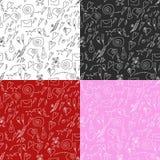 Nahtloses Valentinstagmuster auf rotem, weißem, rosa und schwarzem b Stockbilder