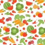 Nahtloses vegetarisches Vektormuster auf weißem Hintergrund Lizenzfreies Stockfoto