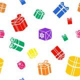 Nahtloses Vektor Geschenkmuster, farbige Geschenkboxen Stockbild