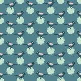 Nahtloses Vektor-Muster Daisy Flowerss und der kleinen Vögel Hübsches Frühlings-Grün-Blumengarten lizenzfreie abbildung