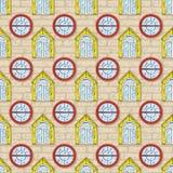 Nahtloses Vektor-Muster mit Backsteinmauer und Farbe Windows Stockfotografie