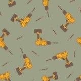 Nahtloses Vektor-Muster mit Bohrgeräten Stockbilder