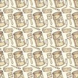 Nahtloses Vektor-Muster mit Farben-und Rollen-Bürsten, Tin Cans Lizenzfreie Stockbilder
