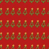 Nahtloses Vektor Weihnachtsbaummuster Übergeben Sie gezogenes, nett, kindisch, Feiertagssymbol auf rotem Hintergrund Stockbild