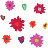 Nahtloses Vektorhintergrundmuster mit asymetrischen Blumen und Herzen stock abbildung