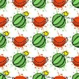 Nahtloses vektormuster Übergeben Sie gezogene Fruchtillustration der Wassermelone mit Spritzen und fallen Sie, auf den weißen Hin Stockbilder