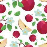 Nahtloses Vektormuster Apples und der Blume Lizenzfreie Stockfotografie