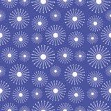 Nahtloses vektormuster Blauer Hintergrund des Saisonwinters mit Nahaufnahmeschneeflocken Stockfotos