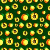 Nahtloses Vektormuster, chaotischer Hintergrund der hellen Früchte mit Aprikosen Stockfotos