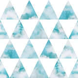 Nahtloses Vektormuster der Aquarellhimmeldreiecke Stockfoto