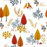 Nahtloses Vektormuster der Bäume des Waldes Übergeben Sie gezogenen Hintergrund mit Anlagen, Gras und Büschen in der Gekritzelart Stockfotos