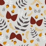 Nahtloses Vektormuster der Blätter und der Eicheln Stockfoto