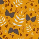 Nahtloses Vektormuster der Blätter und der Eicheln Stockbild