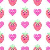 Nahtloses Vektormuster der Erdbeerkarikatur Stockbild