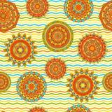 Nahtloses Vektormuster der Mandala Stockfotografie