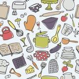 Nahtloses Vektormuster der netten Küche Stockbilder