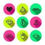 Nahtloses Vektormuster der Party, des Punks und der bezaubernden Symbole in der schwarzen und Neongelbgrünfarbe Lizenzfreie Stockbilder
