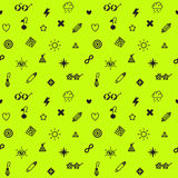 Nahtloses Vektormuster der Party, des Punks und der bezaubernden Symbole in der schwarzen und Neongelbgrünfarbe Stockfoto
