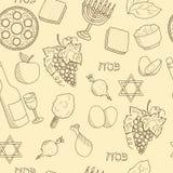 Nahtloses Vektormuster der Passahfestsymbole Stockbild