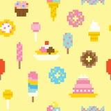 Nahtloses Vektormuster der Pixelkunstbonbons Stockfotos