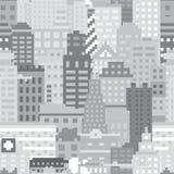 Nahtloses Vektormuster der Pixelkunststadt Lizenzfreies Stockfoto