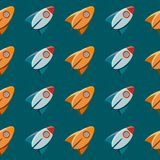 Nahtloses Vektormuster der Raumspielzeugraketenzusammenfassung. Stockbild