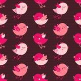 Nahtloses Vektormuster der rosa Karikaturvögel auf dunklem Hintergrund Stockbilder