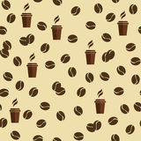 Nahtloses Vektormuster der Tee- oder Kaffeetassen mit Kaffeebohnen oder Körnern vektor abbildung