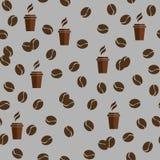 Nahtloses Vektormuster der Tee- oder Kaffeetassen mit Kaffeebohnen oder Körnern lizenzfreie abbildung