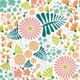 Nahtloses Vektormuster der wunderlichen Blumen Lizenzfreies Stockfoto