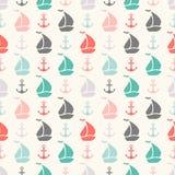 Nahtloses Vektormuster des Ankers und des Segelboots lizenzfreie abbildung