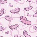 Nahtloses Vektormuster des rosa Schmetterlinges Lizenzfreie Stockbilder