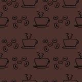 Nahtloses Vektormuster, dunkelbrauner Hintergrund mit Kaffee Lizenzfreies Stockfoto