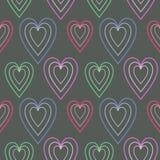 Nahtloses Vektormuster, dunkler symmetrischer Hintergrund mit Herzen Stockbild