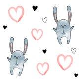 Nahtloses Vektormuster für Valentinsgruß-Tag watercolor Herzen und Hasen stock abbildung