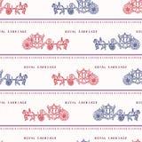 Nahtloses Vektormuster flüchtiger London-königlicher Kutsche Berühmtes historisches britisches Symbol lizenzfreie abbildung